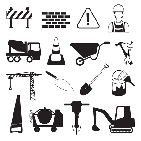 construction: Construction and Industry Icons Illustration