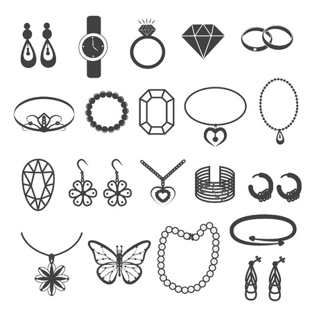 gemstone: Jewelry Accessories and Gemstone Icons Set Illustration