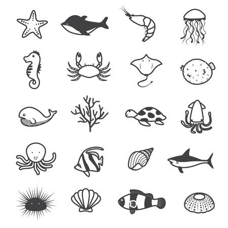 butterflyfish: Cartoon Sea Creature Icons Collection Illustration
