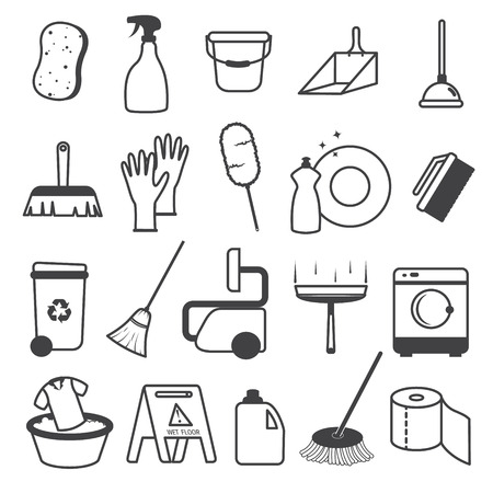 squeegee: Basic Cleaning Tools Icons Set
