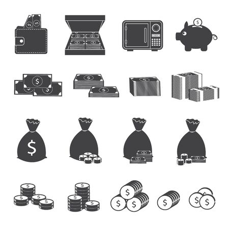 cash money: Money Cash and Coin Icons Collection