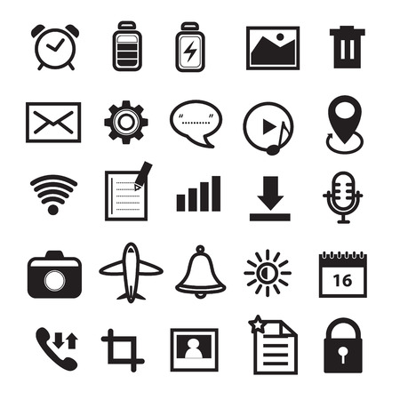Mobile Phone and Application Icons Set