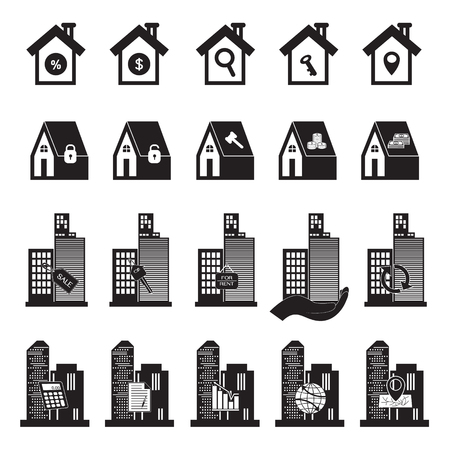 owner money: Real Estate Building and House Symbol Illustration