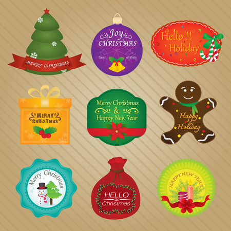 ginger bread: Christmas and Happy New Year Tags Illustration