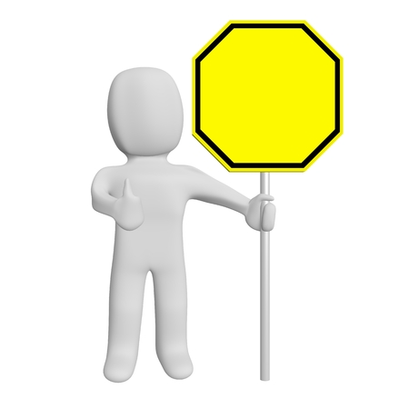concede: 3d road sign blank and human Stock Photo