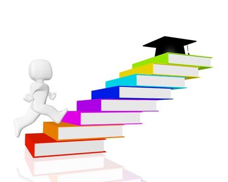 book stair to graduation cap Stock Photo