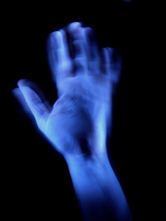 nightmarish: blue hand, long exposure