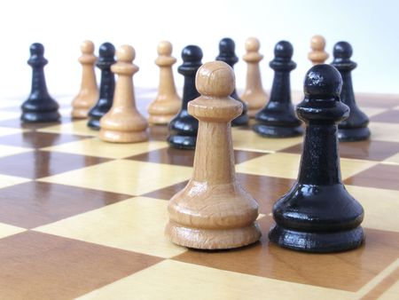 team of pawns with two leaders      photo