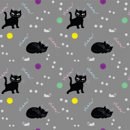 Seamless texture with cats Illustration
