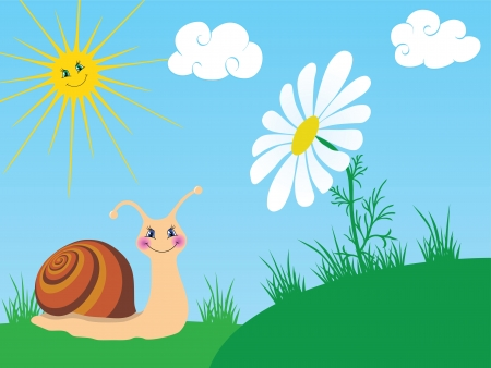 Happy snail with camomile for your design Illustration