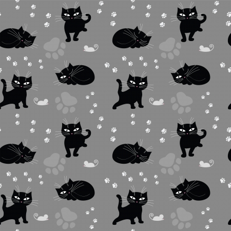 Funny cat seamless texture  Vector illustration Vector