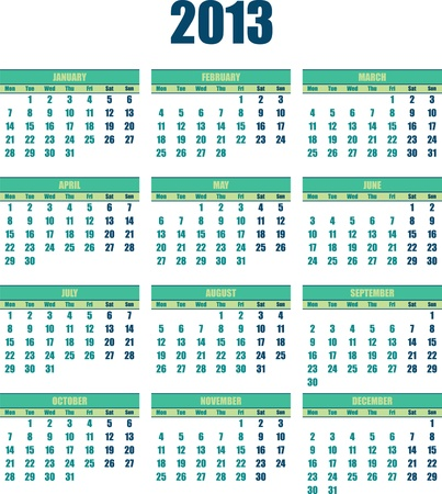 Calendar 2013 small green colour Stock Vector - 15700523