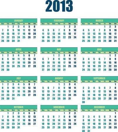 Kalender 2013 kleine grüne Farbe Standard-Bild - 15700523