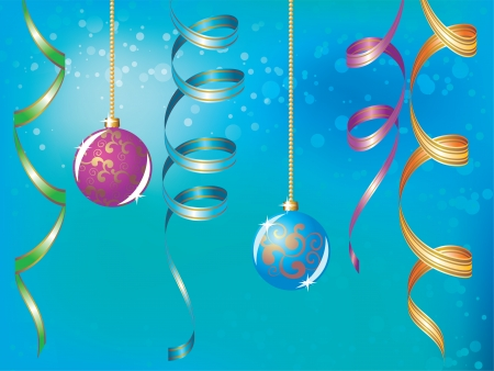 Blue christmas background with baubles and ribbons Vector