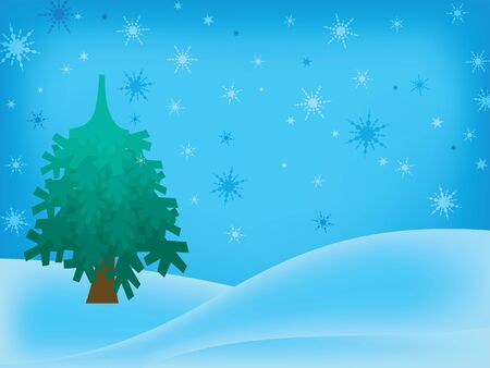 Blue winter background with tree and snowflakes