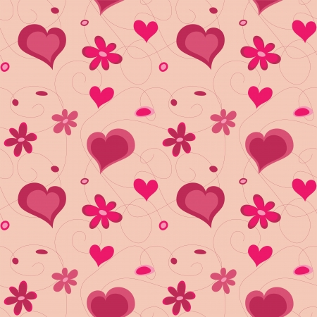 Valentine hearts seamless pattern and flowers.