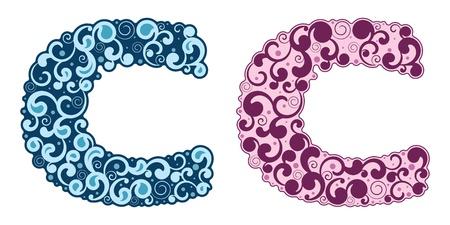 Curling alphabet. Letter C. Stock Vector - 17736211