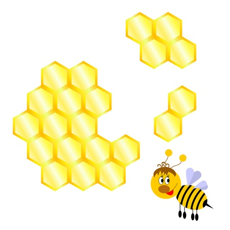 Cartoon happy bee with honeycomb.  Vector