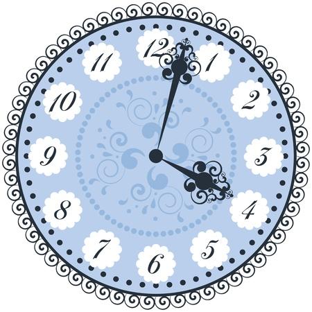 winder: Vector old vintage clock face.