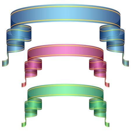 Set of ribbons with gradient fill. Vector illustration Illustration