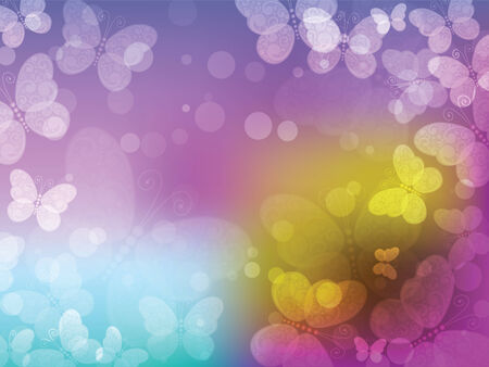 Beautiful colorful abstract with butterflies. Vector.