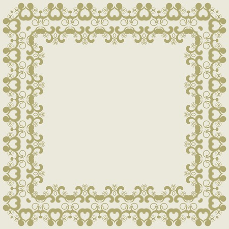 victorian wallpaper: Abstract simmetric square frame. Vector illustration. Design element