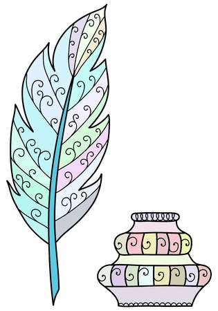 inkpot: Hand drawn feather and inkpot. Vector illustration Illustration