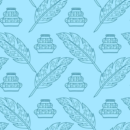 Seamless pattern with feathers and inkpots. Vector illustration. Design element