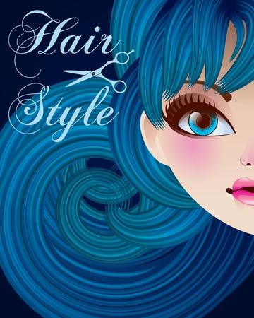 hair style: Hair Style Beauty Illustration.Vector, mesh