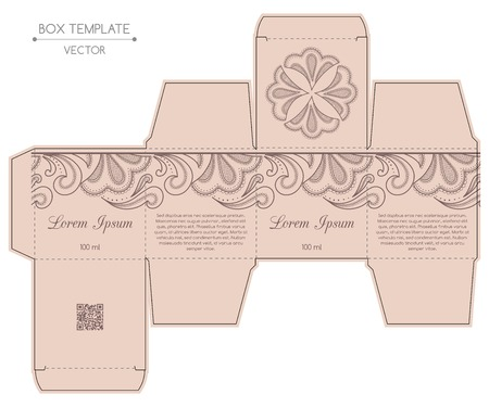 Box design, die-stamping. Vector template Иллюстрация