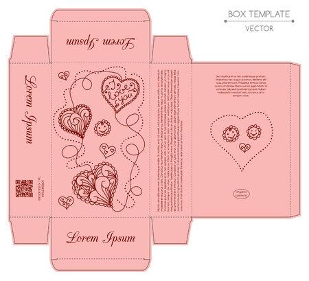 Box design, die-stamping. Vector template Illustration