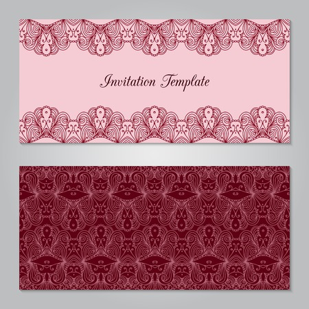 birthday backdrop: Vintage invitation decoration with lace ornament. Template jewelry detailed lace design. Can be used for packaging, invitations, scrapbooking.