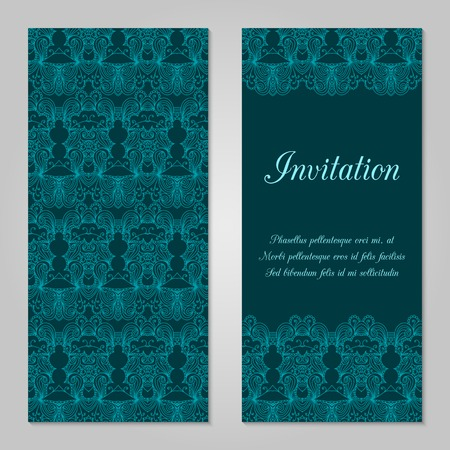 holiday invitation: Vintage invitation decoration with lace ornament. Template jewelry detailed lace design. Can be used for packaging, invitations, scrapbooking.