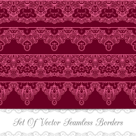 Set of seamless vintage borders with lace ornament. Template jewelry detailed lace design. Can be used for packaging, invitations, scrapbooking.