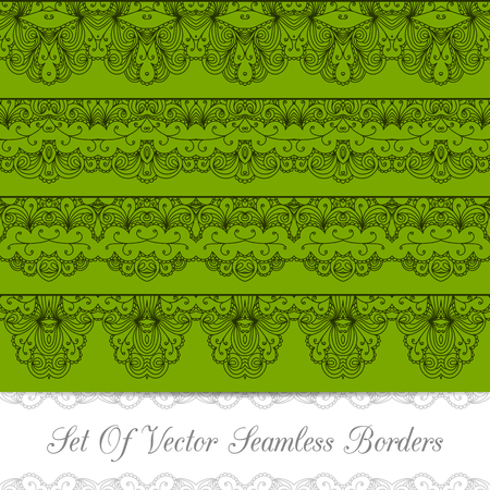 Set of seamless vintage borders with lace ornament. Template jewelry detailed lace design. Can be used for packaging, invitations, scrapbooking. Vector