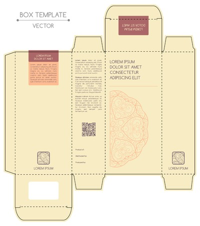 package box: Box design, die-stamping. Vector template Illustration