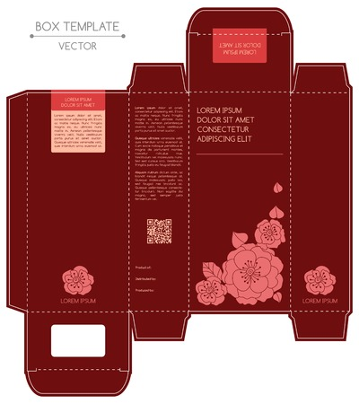 attract: Box design, die-stamping. Vector template Illustration