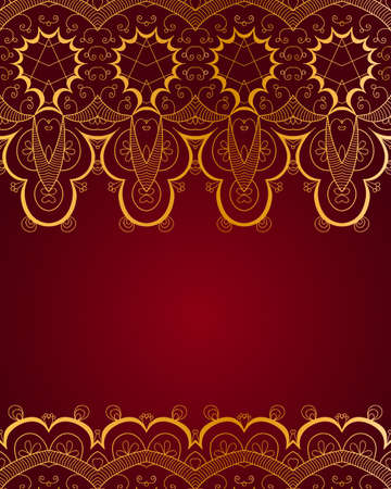gold lace: Vintage invitation decoration with gold lace ornament