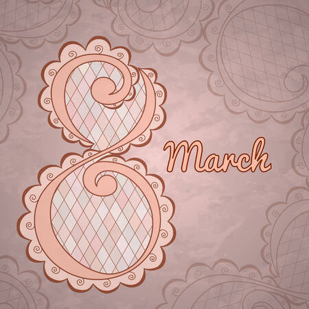 International Womens Day celebration concept with stylish text 8th March Illustration