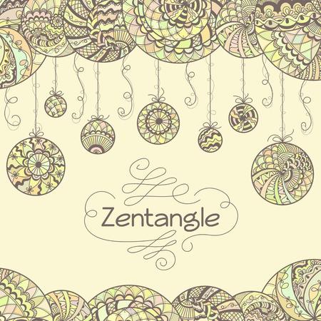 Abstract zentangle hand drawn background.  Иллюстрация