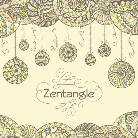 Abstract zentangle hand drawn background.  Illustration