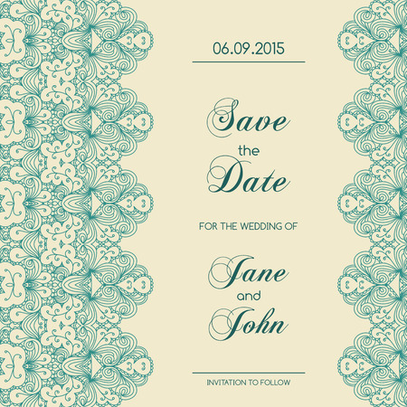 Vintage wedding invitation with lace border. Save the date design. Hand drawn vector illustration