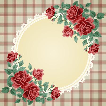 vintage invitation: Vintage frame with roses. Invitation, greeting card template