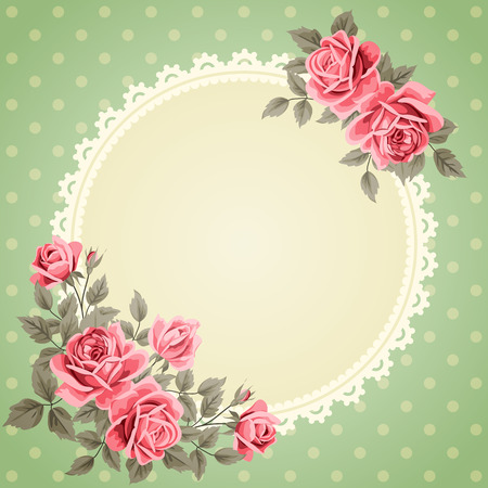 Vintage frame with roses. Invitation, greeting card template