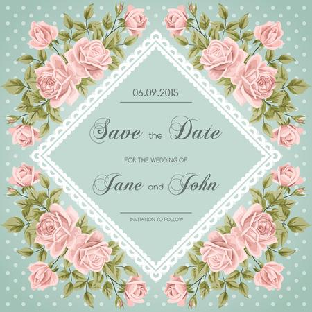 バラとビンテージのウェディング招待状。