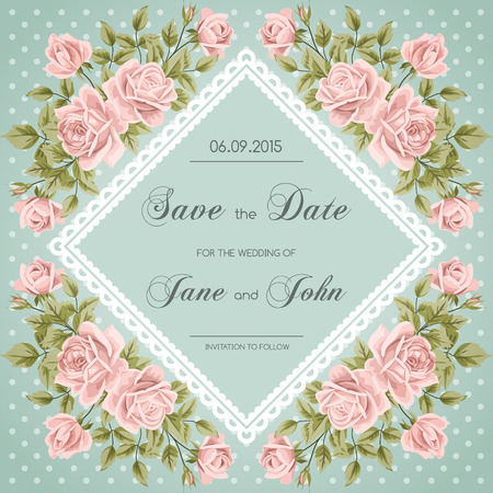 Vintage wedding invitation with roses.