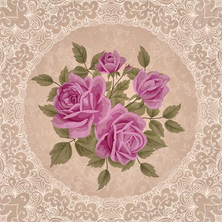 Vintage flower card with roses. Shabby chic vector Illustration Illustration