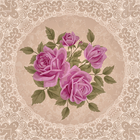 Weinleseblumenkarte mit Rosen. Shabby chic Vektor Illustration Standard-Bild - 38623370