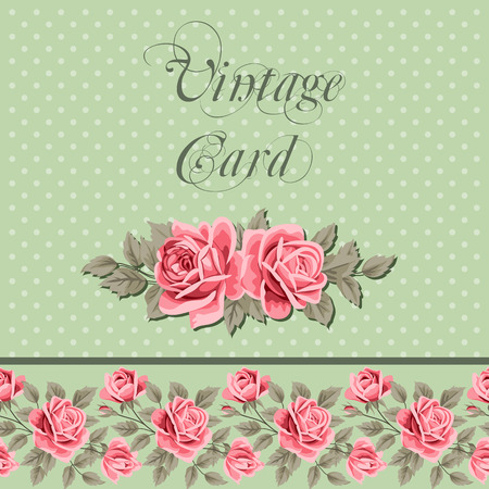 Vintage flower card with roses. Shabby chic vector Illustration Иллюстрация
