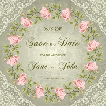 beautiful garden: Vintage wedding invitation with roses. Save the date design. Hand drawn vector illustration